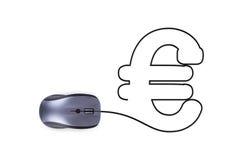 Rato com sinal do Euro Imagens de Stock