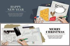 Rato com uma parte enorme de queijo para o Natal A mão pinta o PIC ilustração royalty free