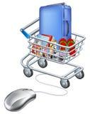 Rato conectado ao carrinho de compras do feriado Foto de Stock