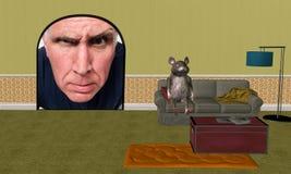 Rato de casa engraçada, melhoria home ilustração royalty free