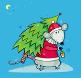 Rato de Santa com árvore de Natal Imagens de Stock Royalty Free