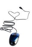 Rato do computador com coração do fio (isolado) Imagens de Stock Royalty Free
