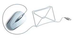 Rato do computador com envelope do correio Imagens de Stock Royalty Free