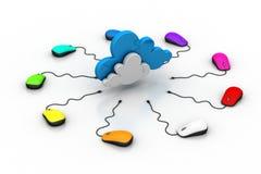 Rato do computador conectado a uma nuvem Foto de Stock