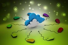 Rato do computador conectado a uma nuvem Fotos de Stock Royalty Free