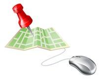 Rato do computador do pino do mapa Fotografia de Stock Royalty Free