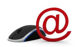 Rato do computador e sinal do email Fotos de Stock