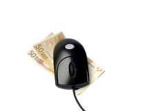 Rato do computador nas euro- cédulas isoladas no branco Fotografia de Stock Royalty Free