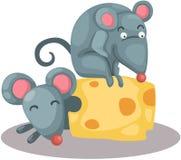 Rato dos desenhos animados que come uma parte de queijo ilustração stock
