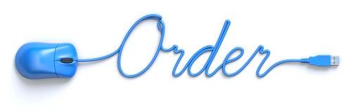 Rato e cabo azuis na forma da palavra da ordem ilustração do vetor
