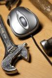 Rato e ferramentas do computador Fotografia de Stock Royalty Free