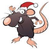 Rato no chapéu de Papai Noel Imagens de Stock Royalty Free