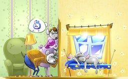 Rato pequeno adormecido Imagens de Stock