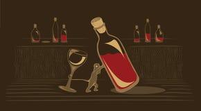 Rato que arrasta um frasco de vinho velho Imagem de Stock