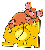 Rato que dorme e que abraça uma parte de queijo Imagem de Stock