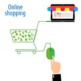 Rato verde e verde no símbolo do carrinho de compras, comprando no ícone liso, vetor, ilustração Fotos de Stock