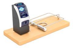 Ratoeira com máquina do ATM, rendição 3D Fotos de Stock