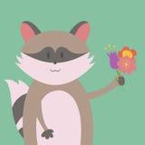 Raton laveur avec des fleurs illustration stock