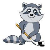 Raton laveur de bande dessinée avec le bâton de hockey et le galet illustration libre de droits