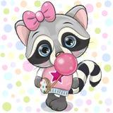 Raton laveur mignon de bande dessinée avec le bubble-gum illustration libre de droits