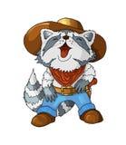 Raton laveur riant de cowboy américain de caractère coloré par bande dessinée sur le blanc illustration de vecteur