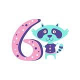 Raton laveur se tenant à côté de l'animal génial stylisé du numéro six Image libre de droits