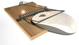 Ratonera con el ratón atrapado del ordenador Imagen de archivo libre de regalías