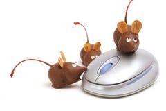 Ratones del chocolate en un ángulo del ratón Foto de archivo libre de regalías