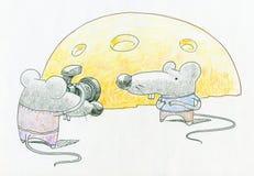 Ratones y queso ilustración del vector