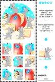 Ratones y rompecabezas visual de la lógica del queso Imagen de archivo libre de regalías