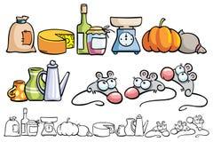 Ratos e artigos engraçados da cozinha ilustração royalty free