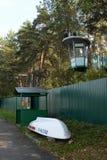 Ratownicza stacja ministerstwo Emergencies ` Serebryany Bora ` na Moskwa rzece i rewizja obrazy royalty free