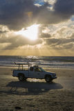 Ratownik ciężarówka na plaży Zdjęcia Stock