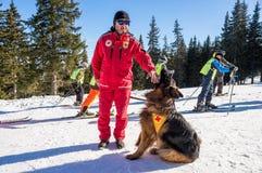 Ratownik i jego usługowy pies Zdjęcie Stock