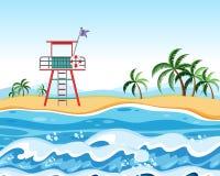 Ratownik przy plażową sceną ilustracja wektor