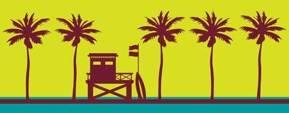 Ratownik stacja, morze, zmierzchu niebo i plaża, ilustracja wektor