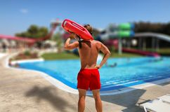Ratownik w aqua parku Obraz Royalty Free
