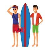 Ratownik z mężczyzną i surfboard ilustracji