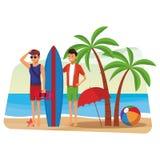 Ratownik z mężczyzną i surfboard ilustracja wektor