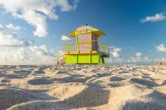 Ratownika wierza w południe plaży, Miami plaża, Floryda Fotografia Royalty Free