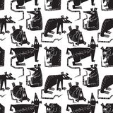 Rats And Mouse Seamless Pattern. Background With Cute Rodents Ch Stock Images