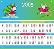 Rats colorful calendar 2008. Cute colorful calendar for 2008. With rat characters - symbols of new year. With Space reserved for your logo and text Vector Illustration