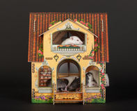 Rats in the dollhouse. Very small baby rats in the dollhouse Stock Photos