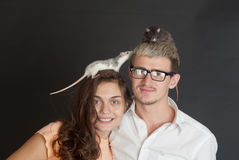 Rats on heads royalty free stock photos