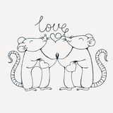 Rats in love. Coloring page. Vector image Royalty Free Stock Image