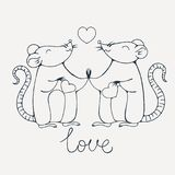 Rats in love. Coloring page. Vector image Stock Image