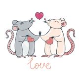 Rats in love. Vector image Royalty Free Stock Image