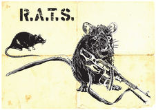 Rats, rat with gun - freehand drawing,  Royalty Free Stock Images