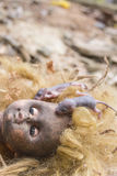 Rats on scary dirty head blonde doll Stock Photo