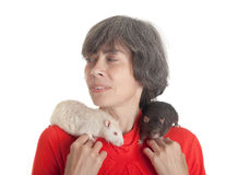 Rats on shoulders Stock Photos